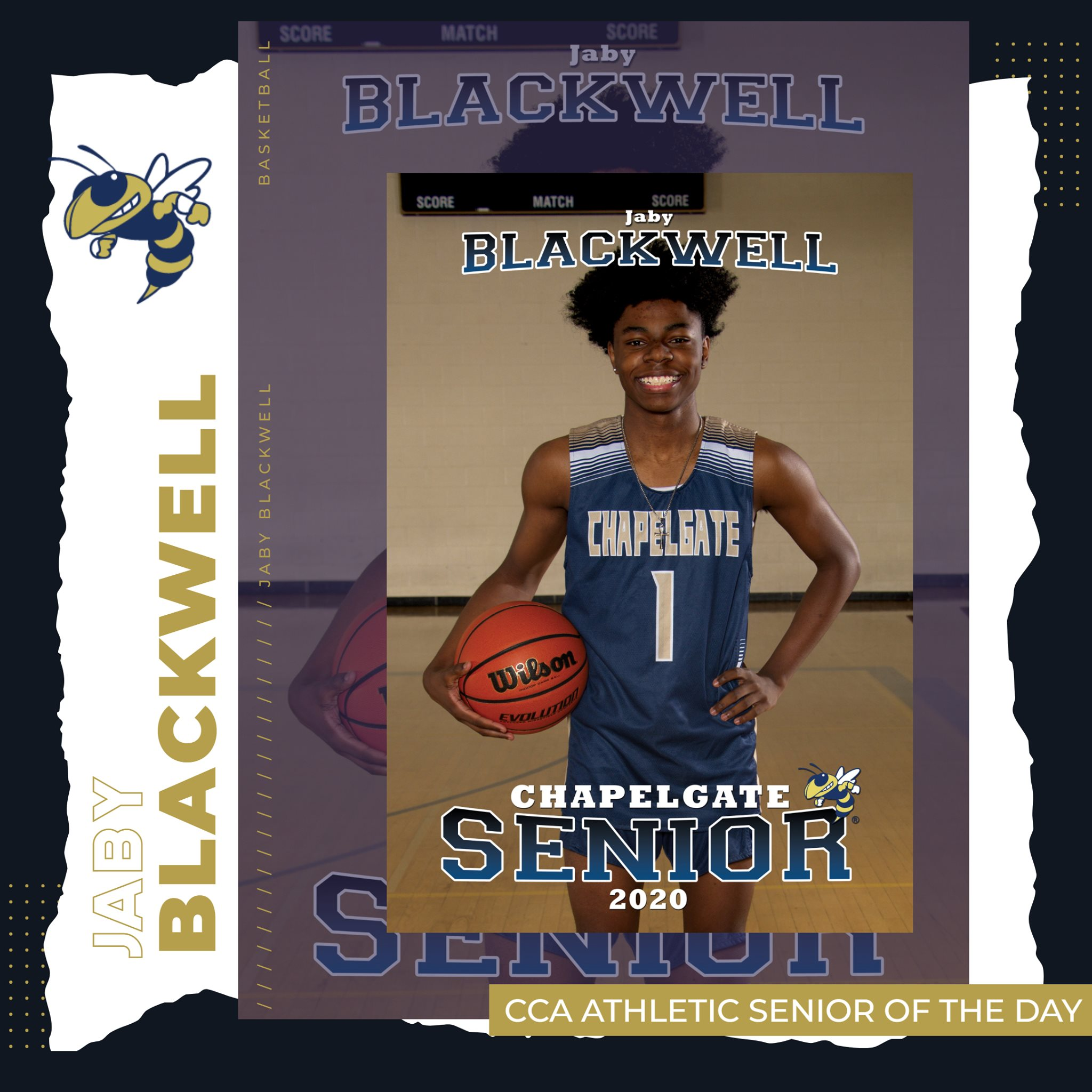 CCA Athletic Senior of the Day – Jaby Blackwell – Jaby was a two-year Varsity Basket…