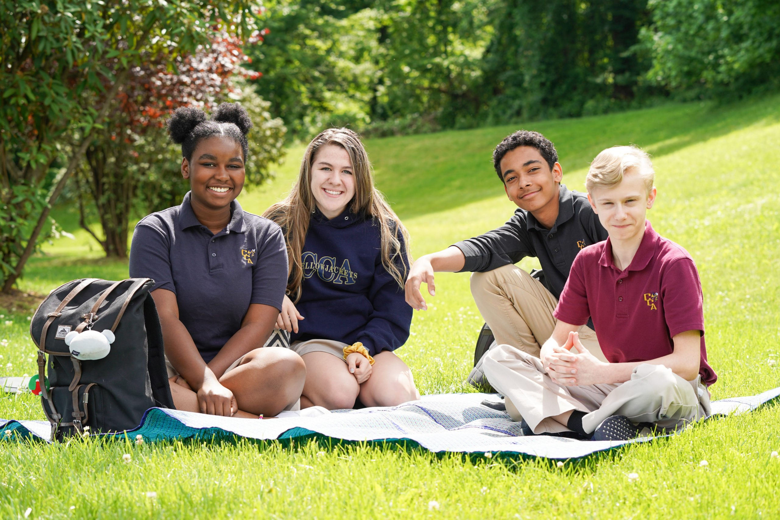 Chapelgate students enjoying a nice day out on the lawn